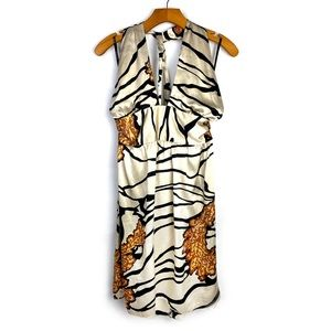 Bebe | Silk Halter Zebra Print Dress